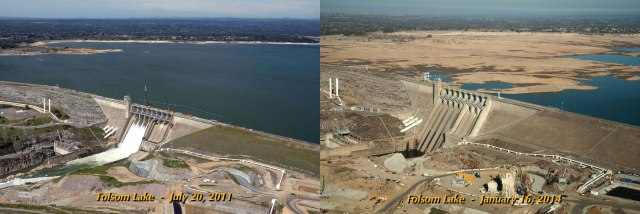 Folsom Lake near Sacramento Ca, 2011 and 2014