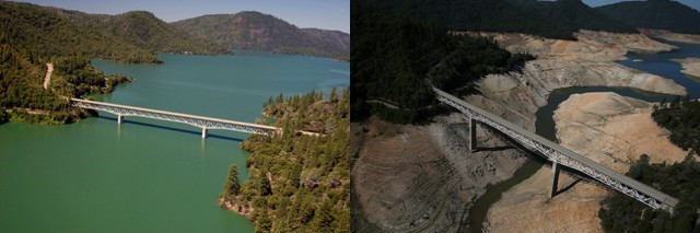 Lake Oroville running under the Enterprise Bridge, March 2011 and March 2014 Paul Hames/California Department of Water Resources (left); Justin Sullivan/Getty Images (right)