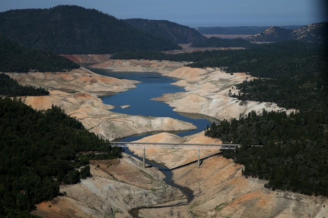 Lake Oroville is just a trickle as it passes under the Enterprise Bridge